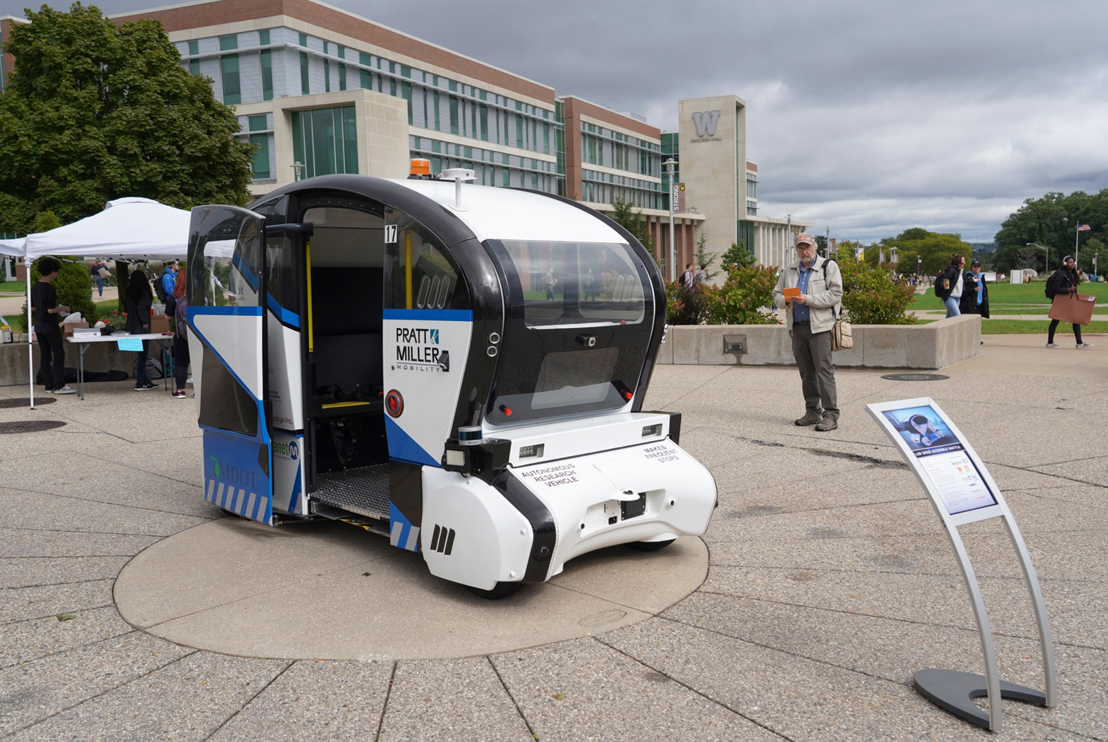 The autonomous vehicle parked on Western Michigan University's campus