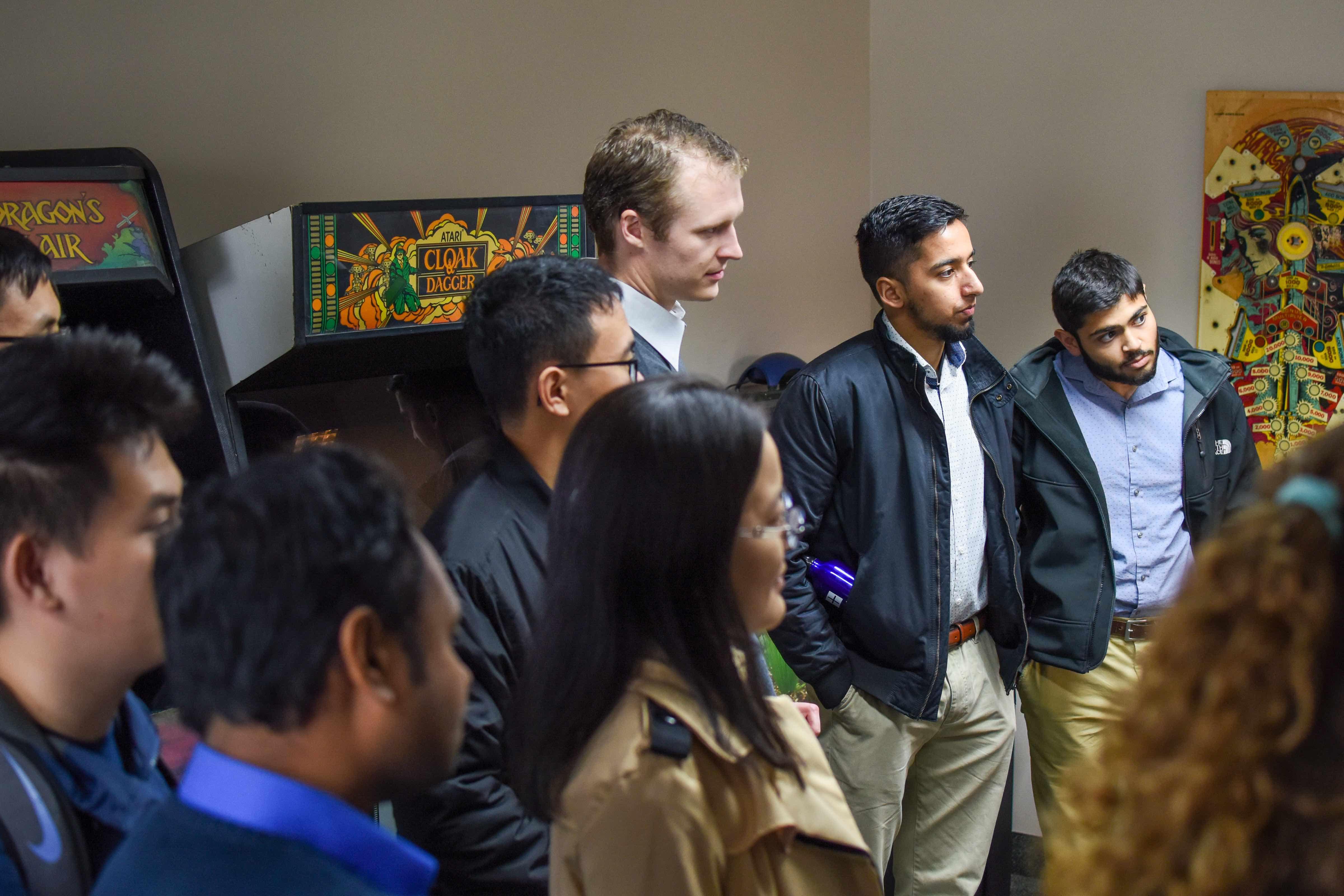 Students tour arcade room at Quantum Signal AI