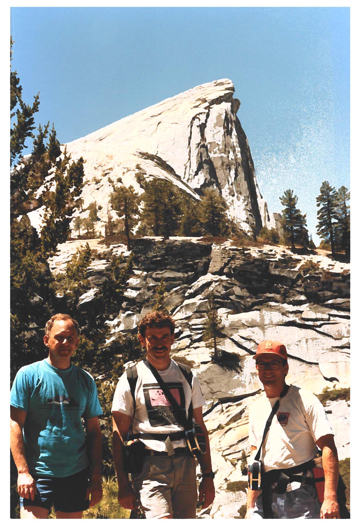 Edward Larsen, William Martin, and Clint Ballinger in Yosemite National Park.