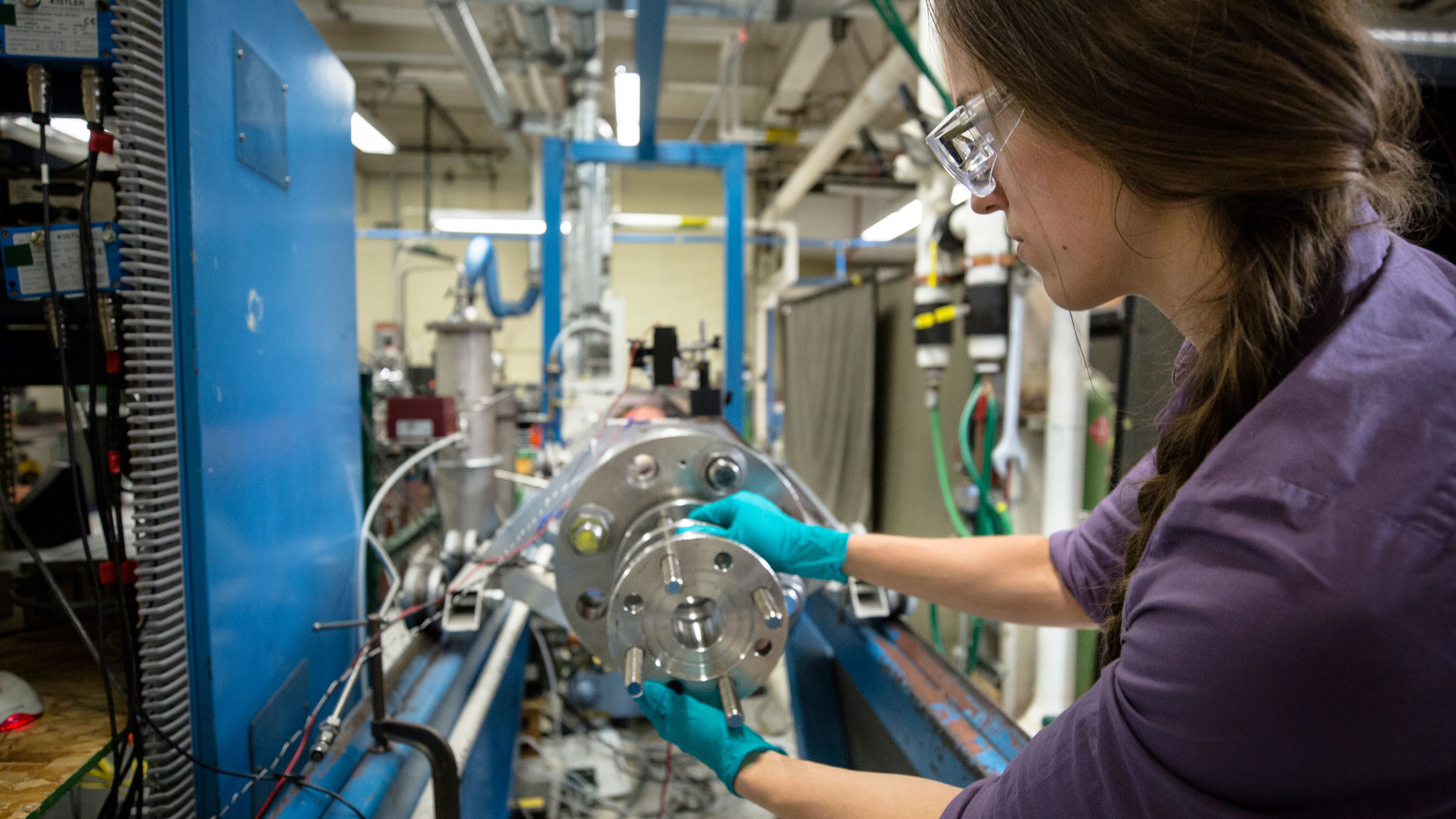 PhD student Rachel Schwind works in the lab