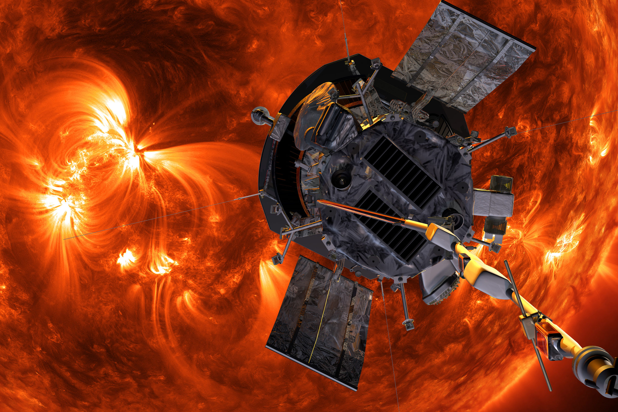illustration of parker solar probe in front of the sun