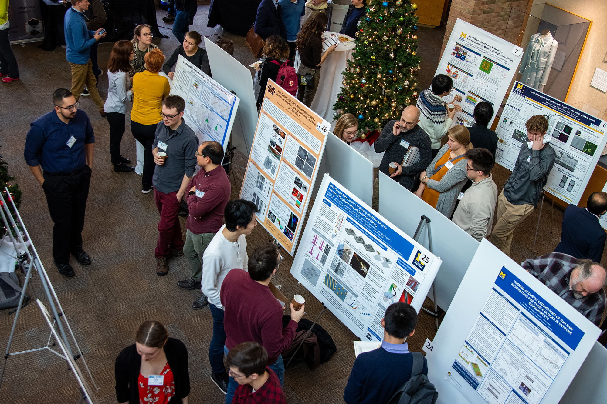 Overhead shot of people milling around the poster session