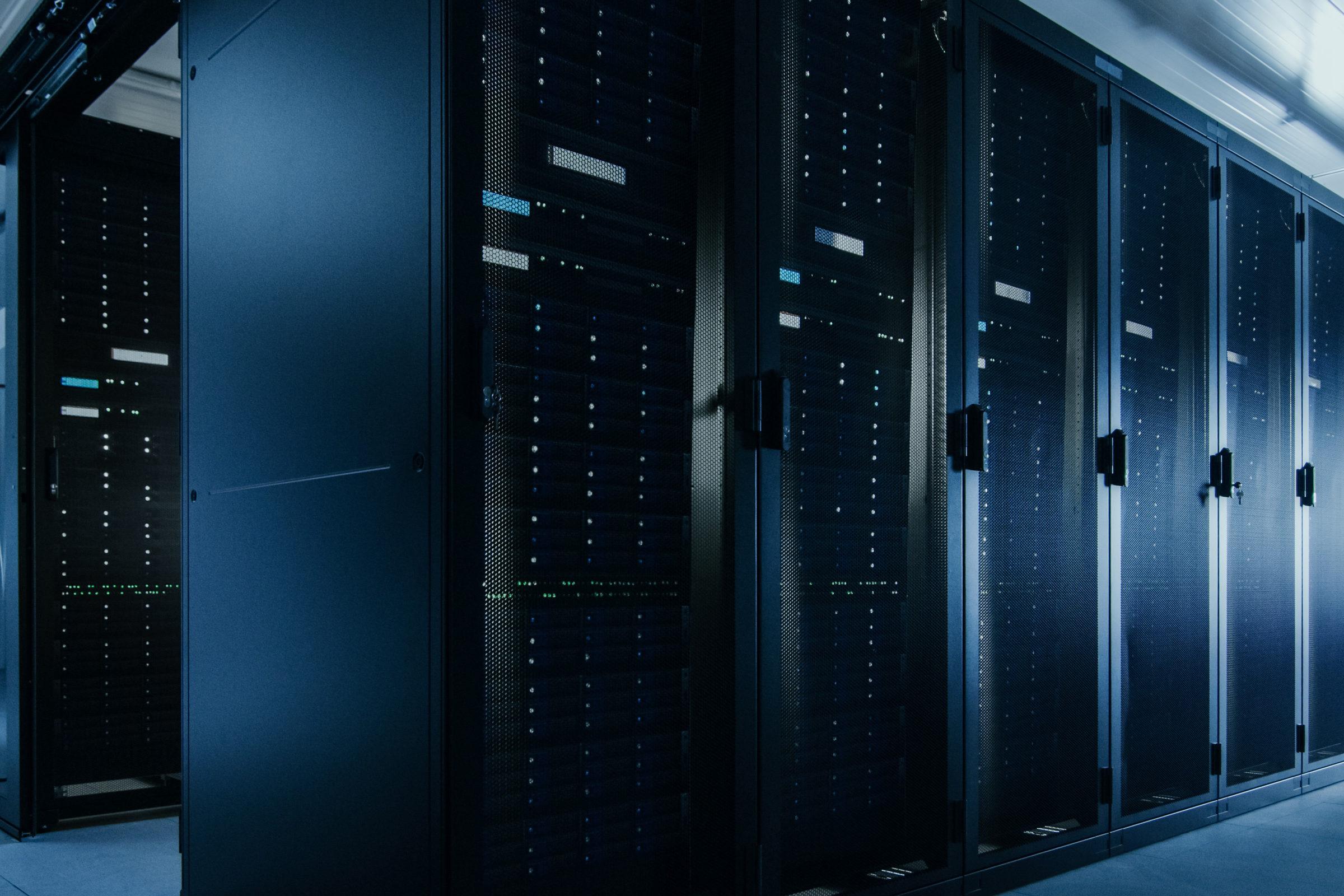 A server rack in a data center