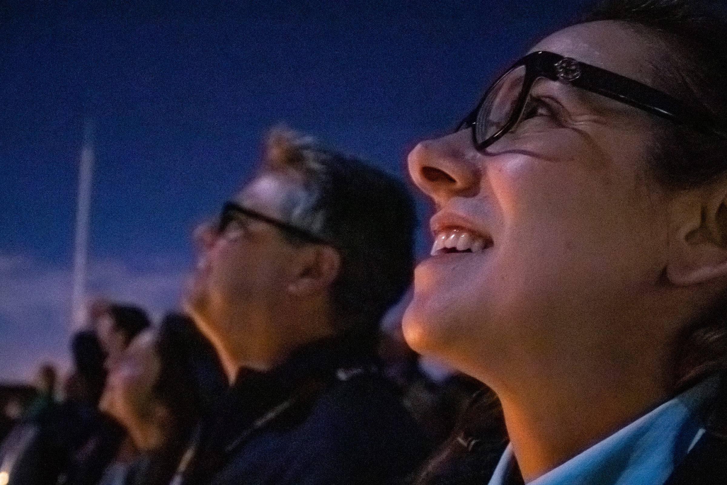 solar orbiter team member watch the sky as the rocket lifts off