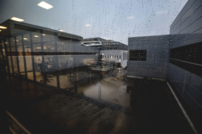rain on an office window