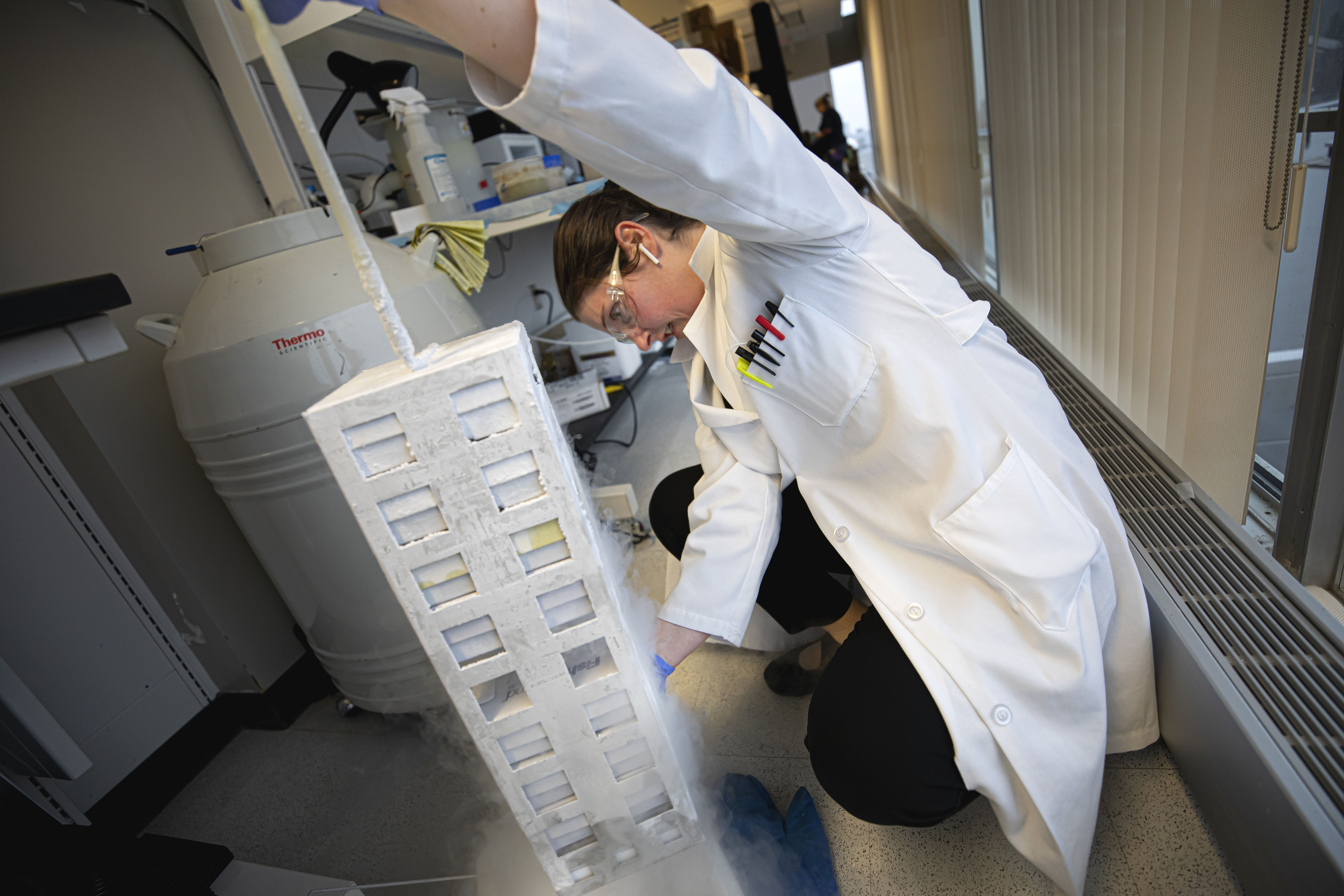 a researcher works in her lab