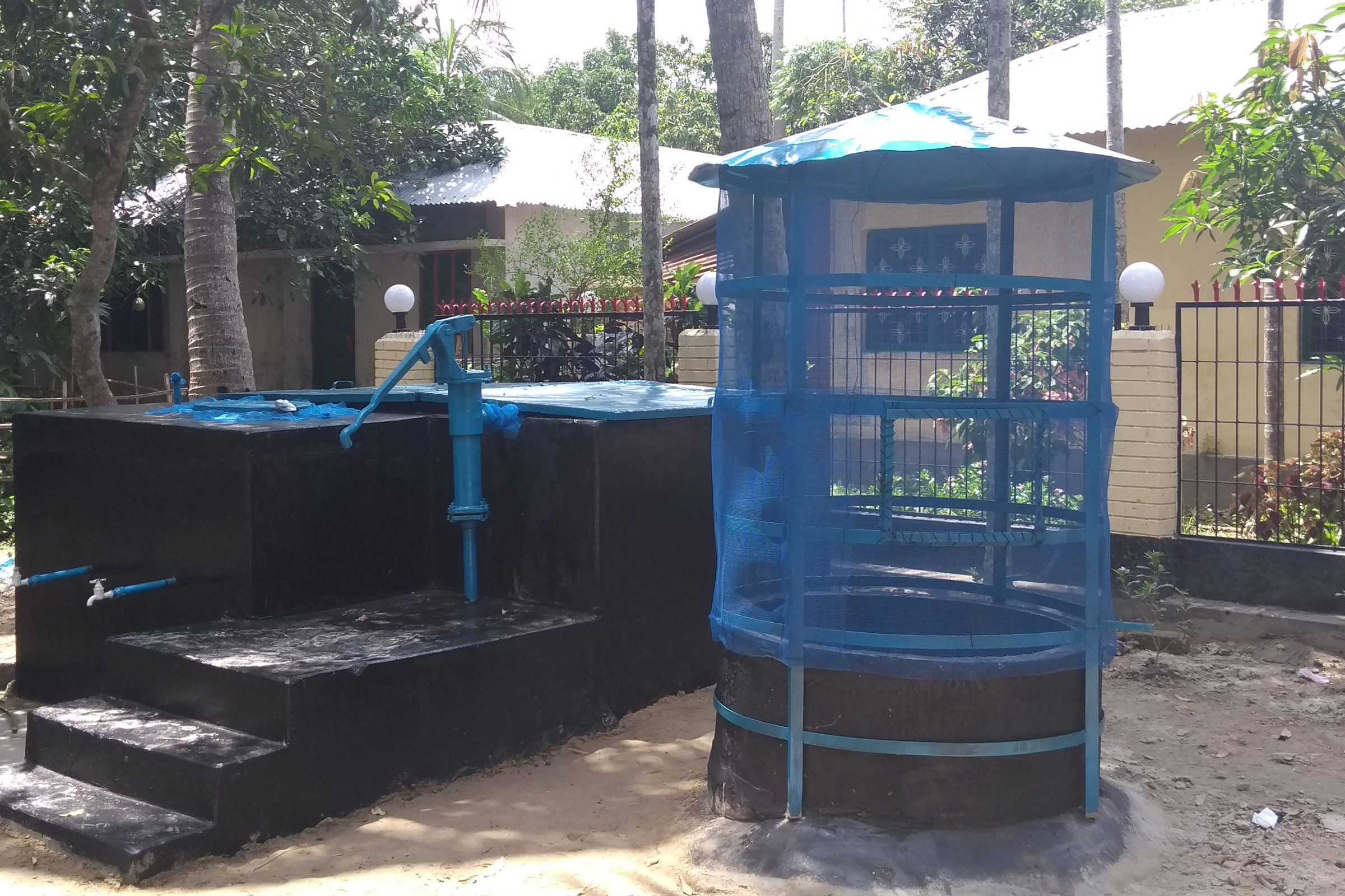 Photograph of a newly constructed community water filter.