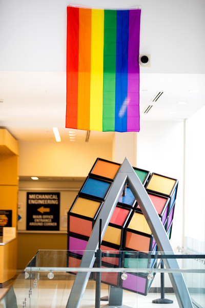 pride flag hangs in north campus
