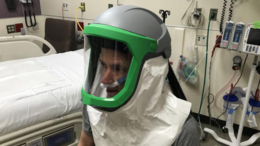Kevin Ward wearing the new helmet