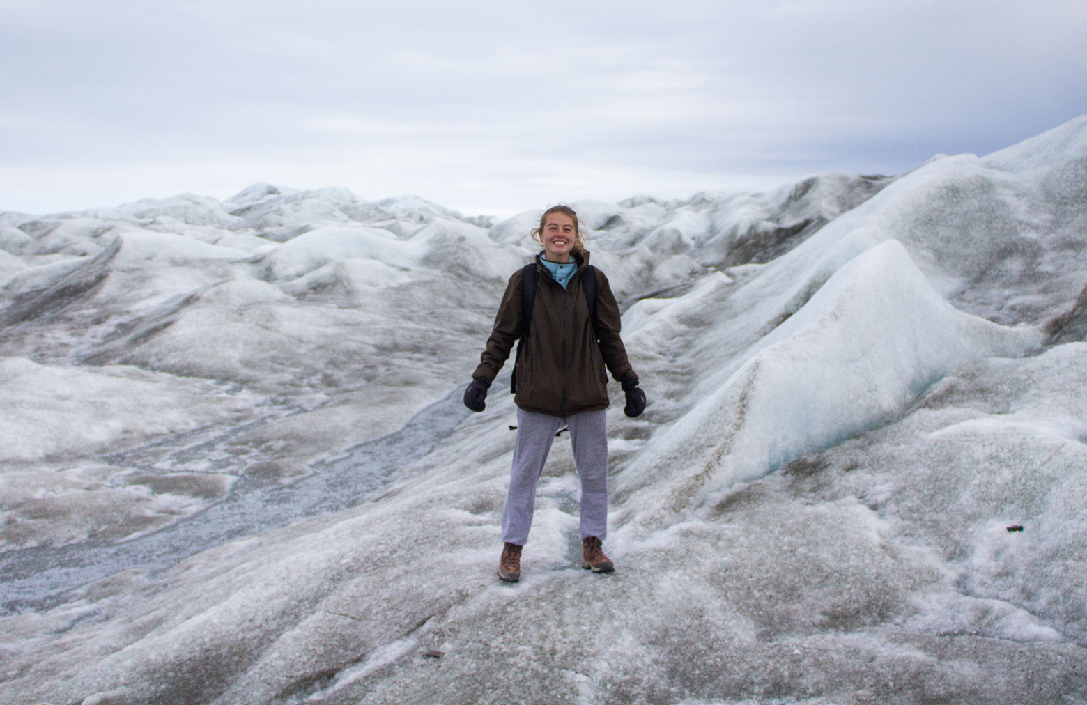 Abigail Meyer, a graduating computer science engineering student, is pictured atop Russell Glacier in the Greenland Ice Sheet. Photo by Marc Koerschner