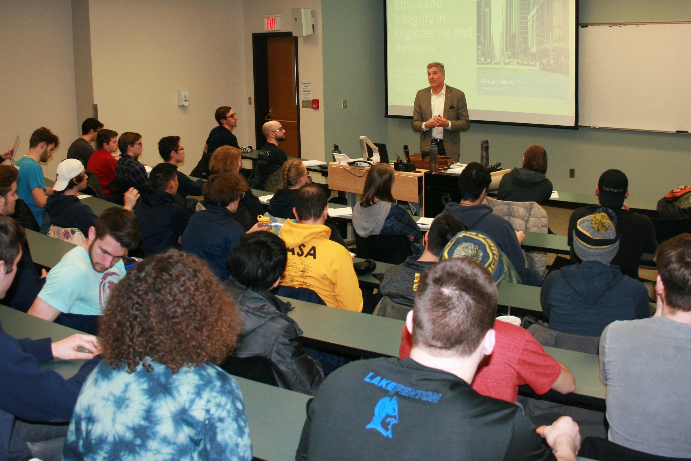 Professor of Practice George Halow teaches new Aerospace Enterprise undergraduate aerospace engineering course