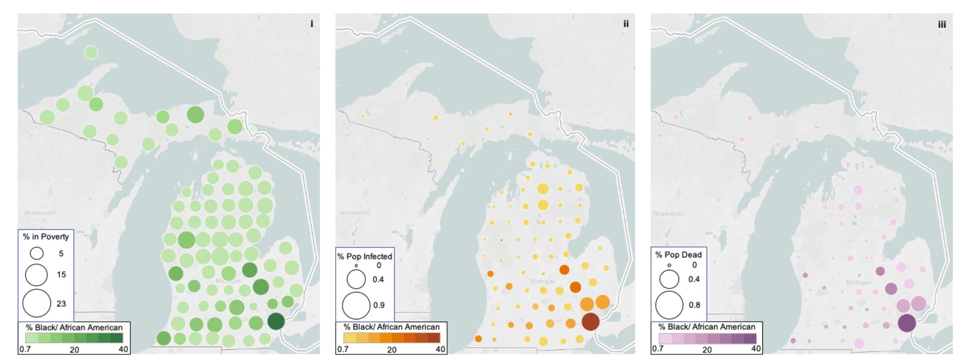 three Michigan maps showing the spread of coronavirus