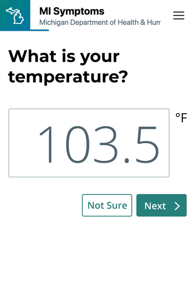 One of the questions used by MI Symptoms asks users to enter their body temperature.