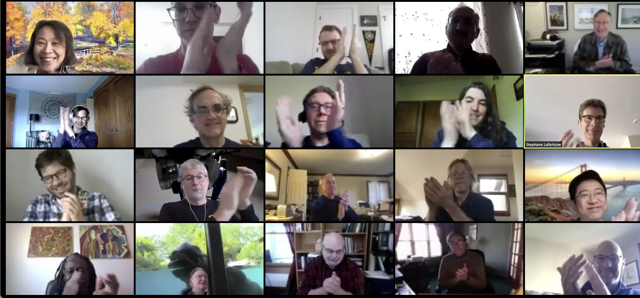 Professors congratulate Prof. Terry on Zoom