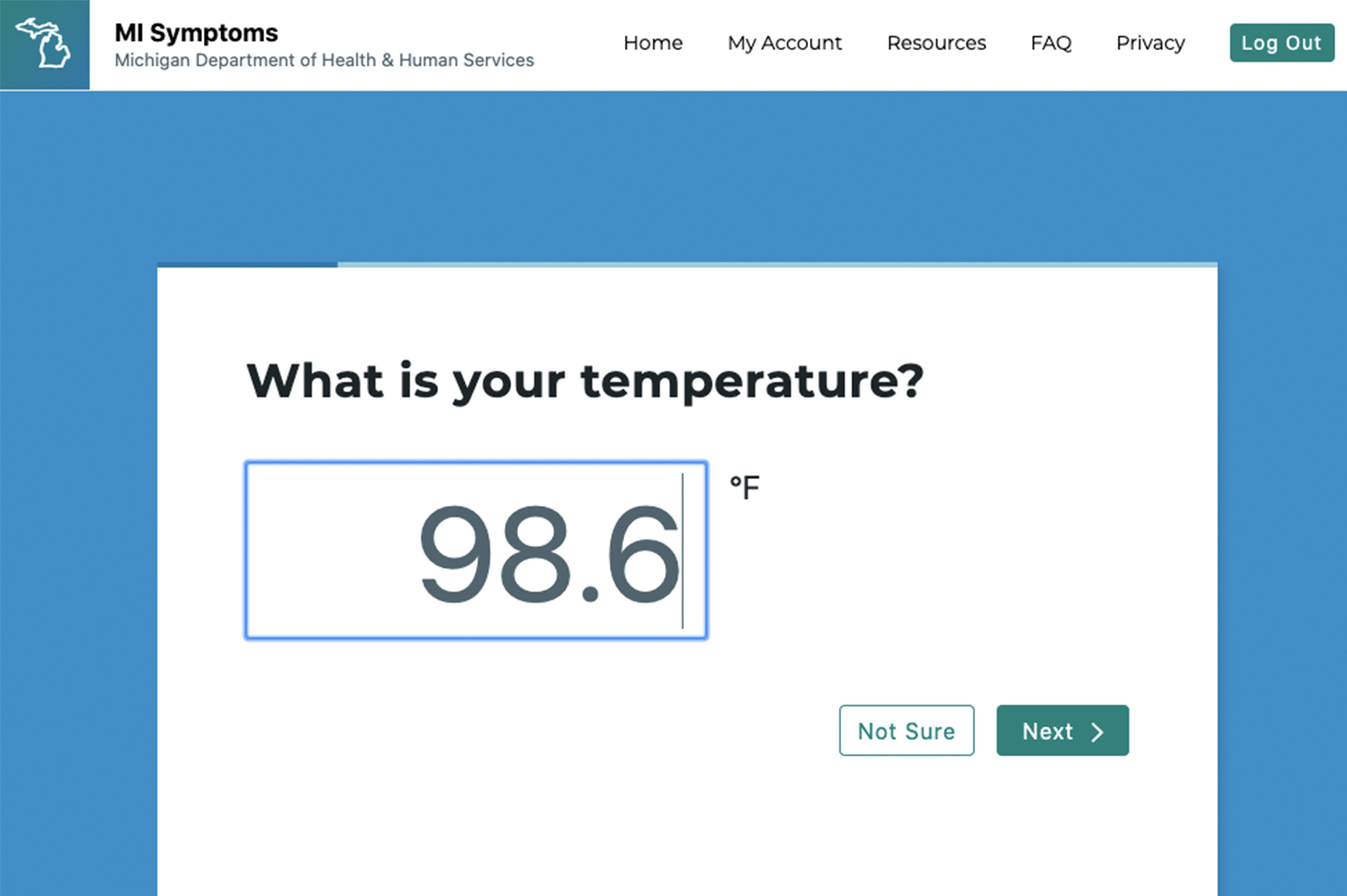 An app prompt asking for the user's temperature