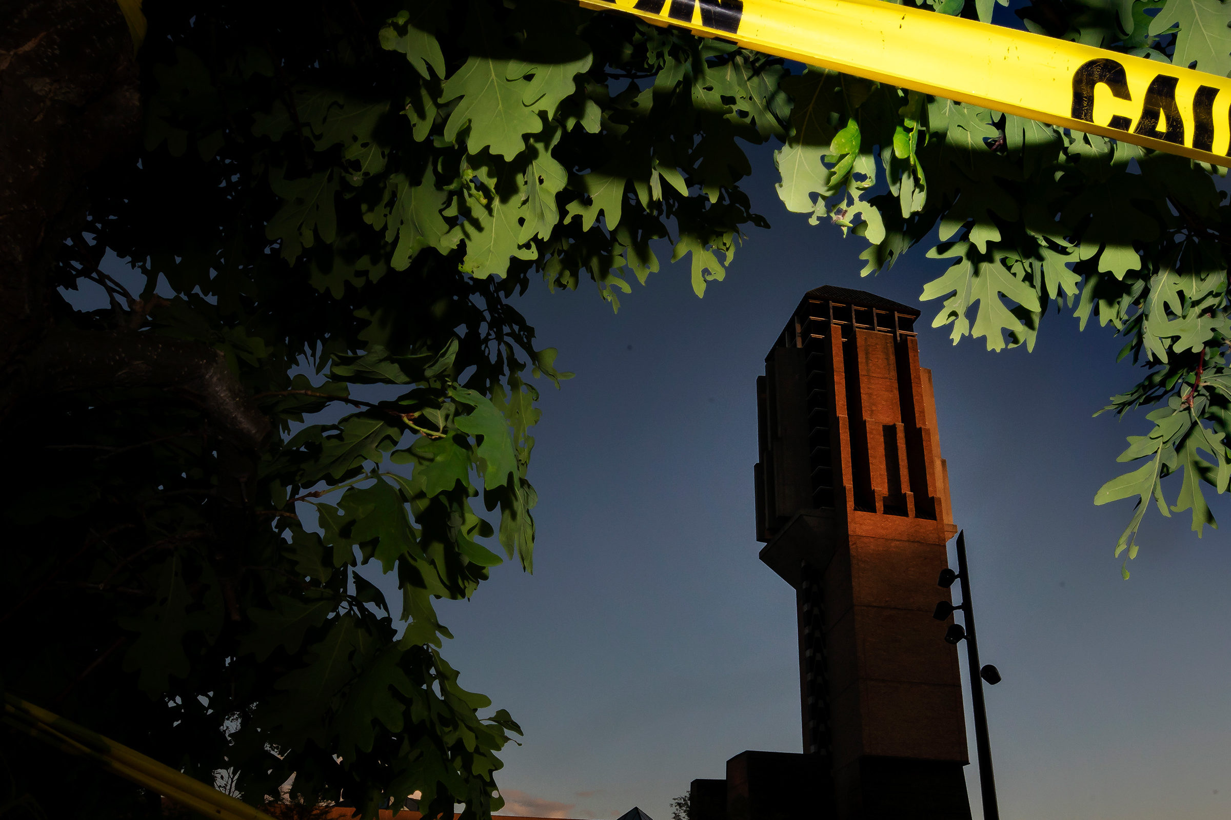View of the North Campus Bell Tower blocked by caution tape