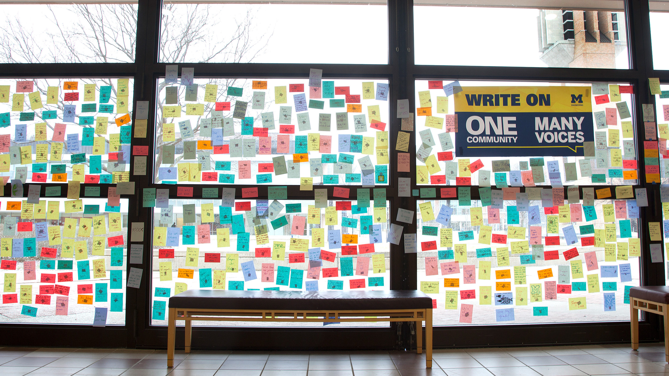 University of Michigan students, staff and faculty members participate in writing messages of inclusion and openness in support of Michigan Engineering international students, faculty and staff.