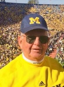 Gary Cook wearing Michigan gear at Michigan Stadium