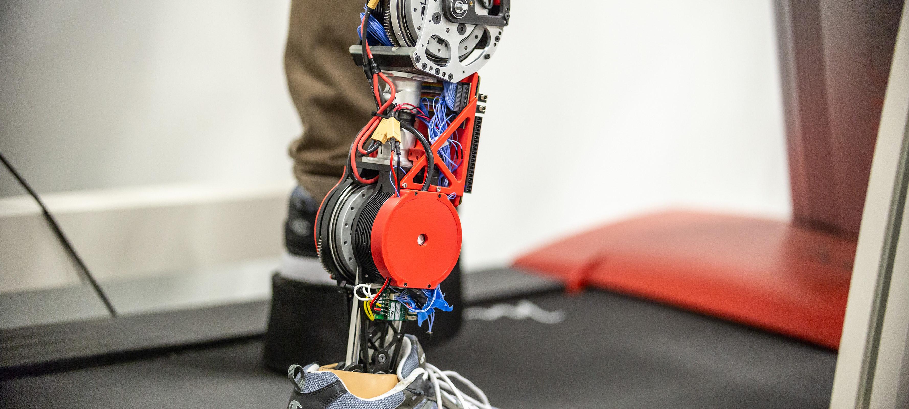 A robotic, prosthetic leg