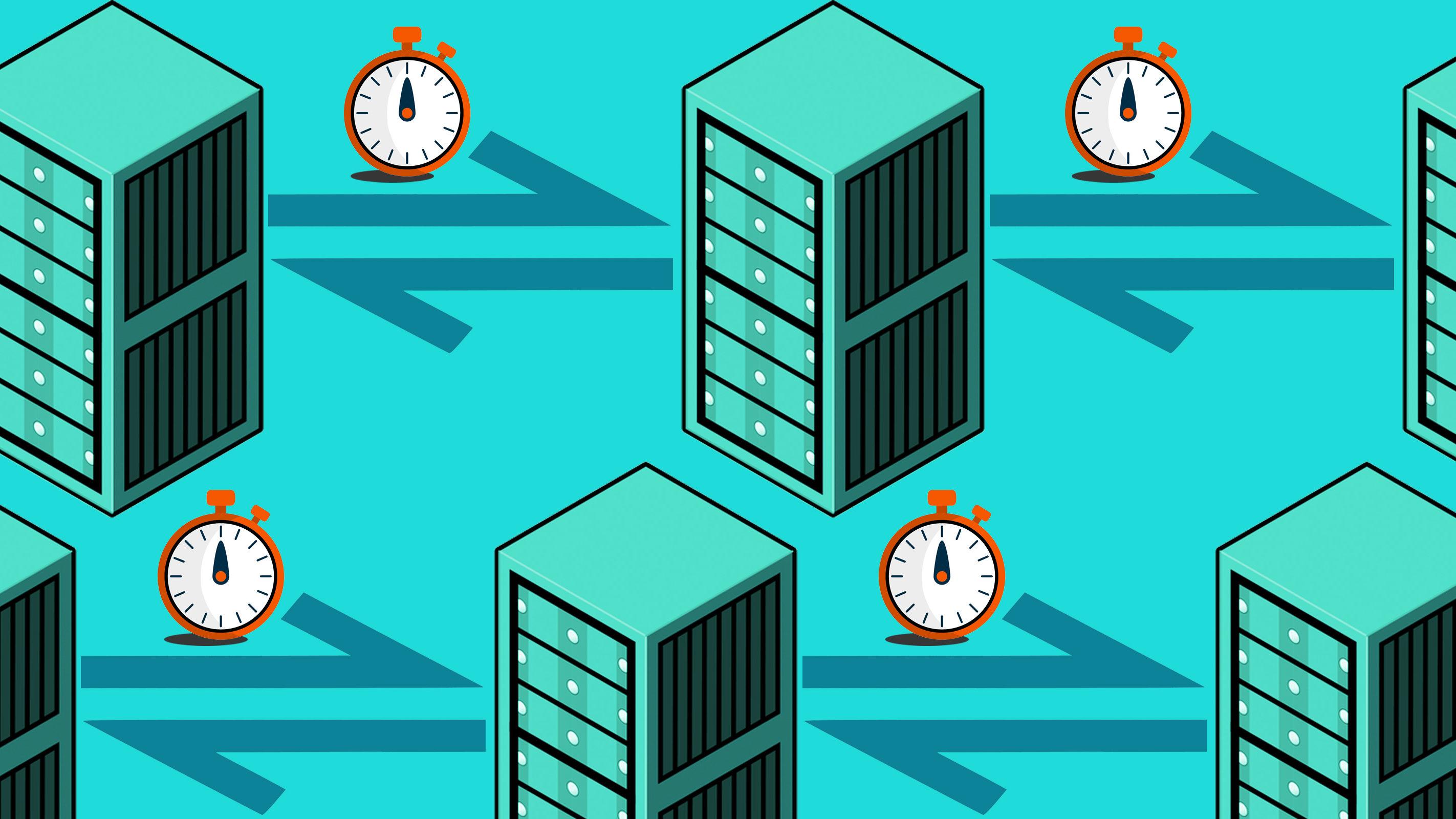 Server racks with network delay