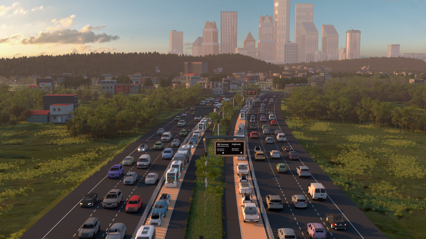 A highway render of the connector corridor from Ann Arbor to Detroit
