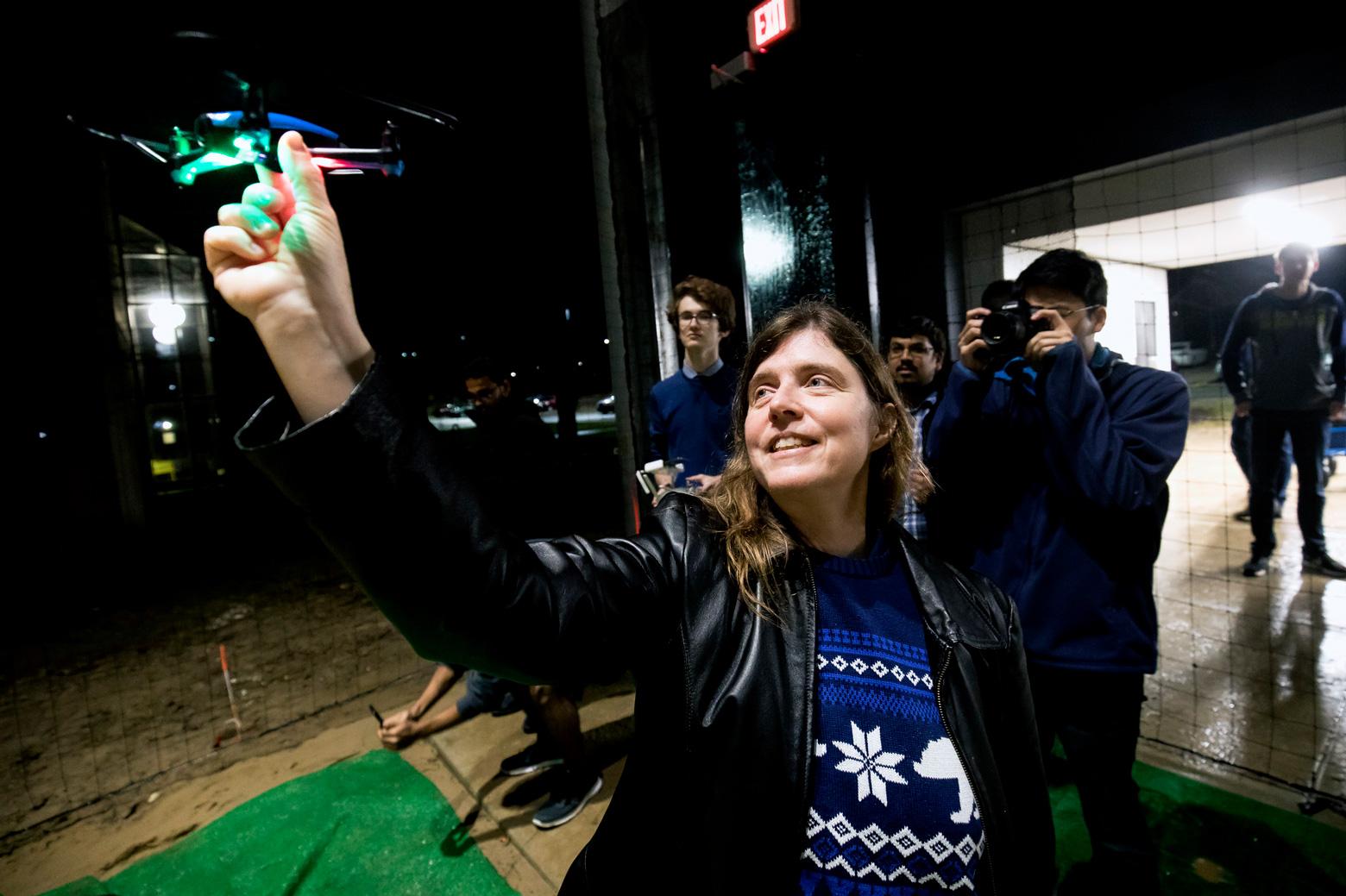 Ella Atkins with a drone