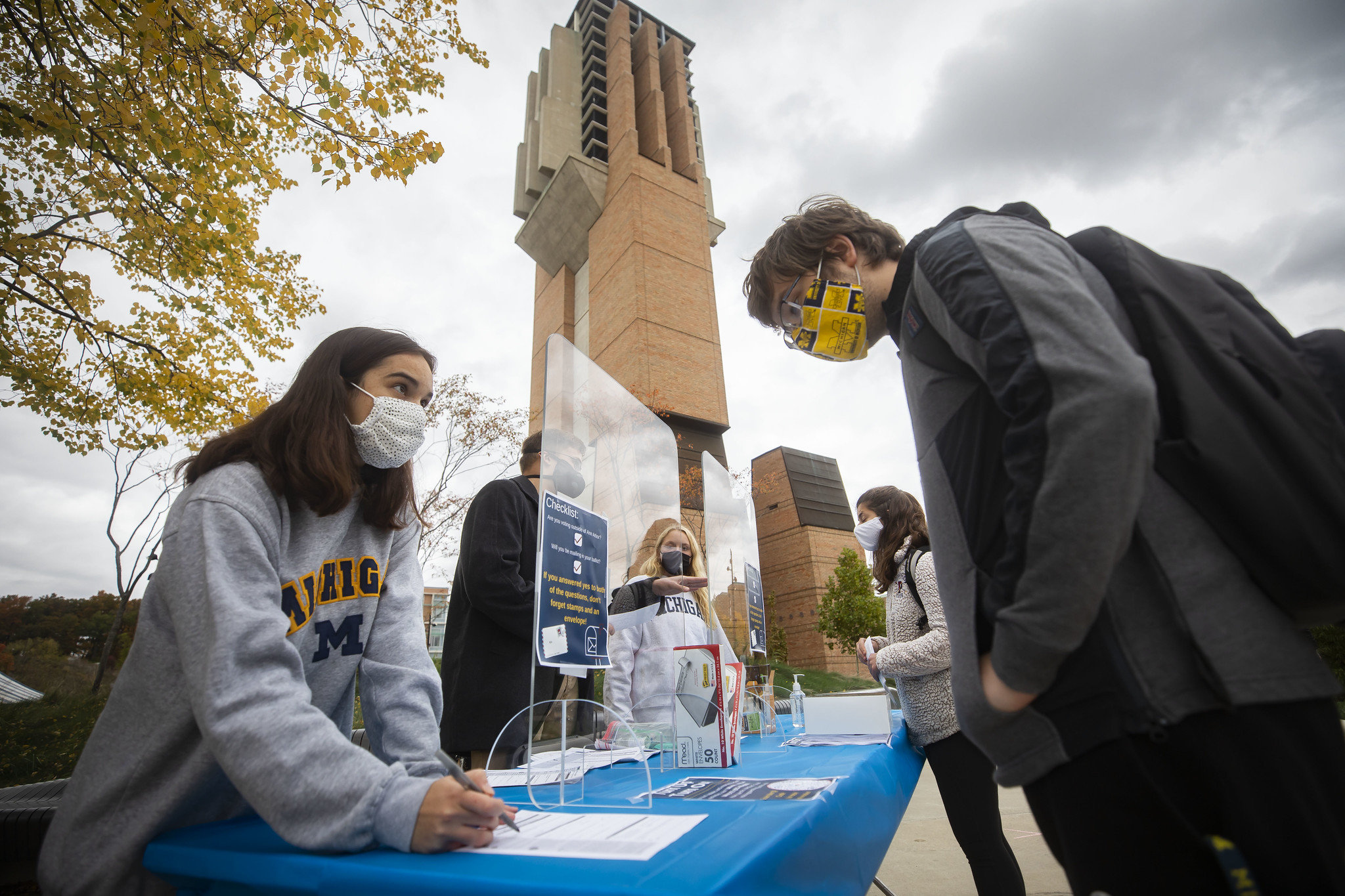 A photograph of students registering to vote on North Campus.