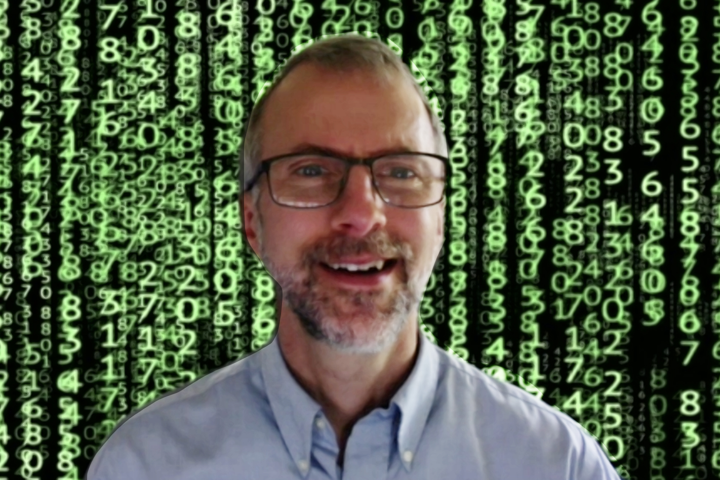 Fessler in front of Matrix code background