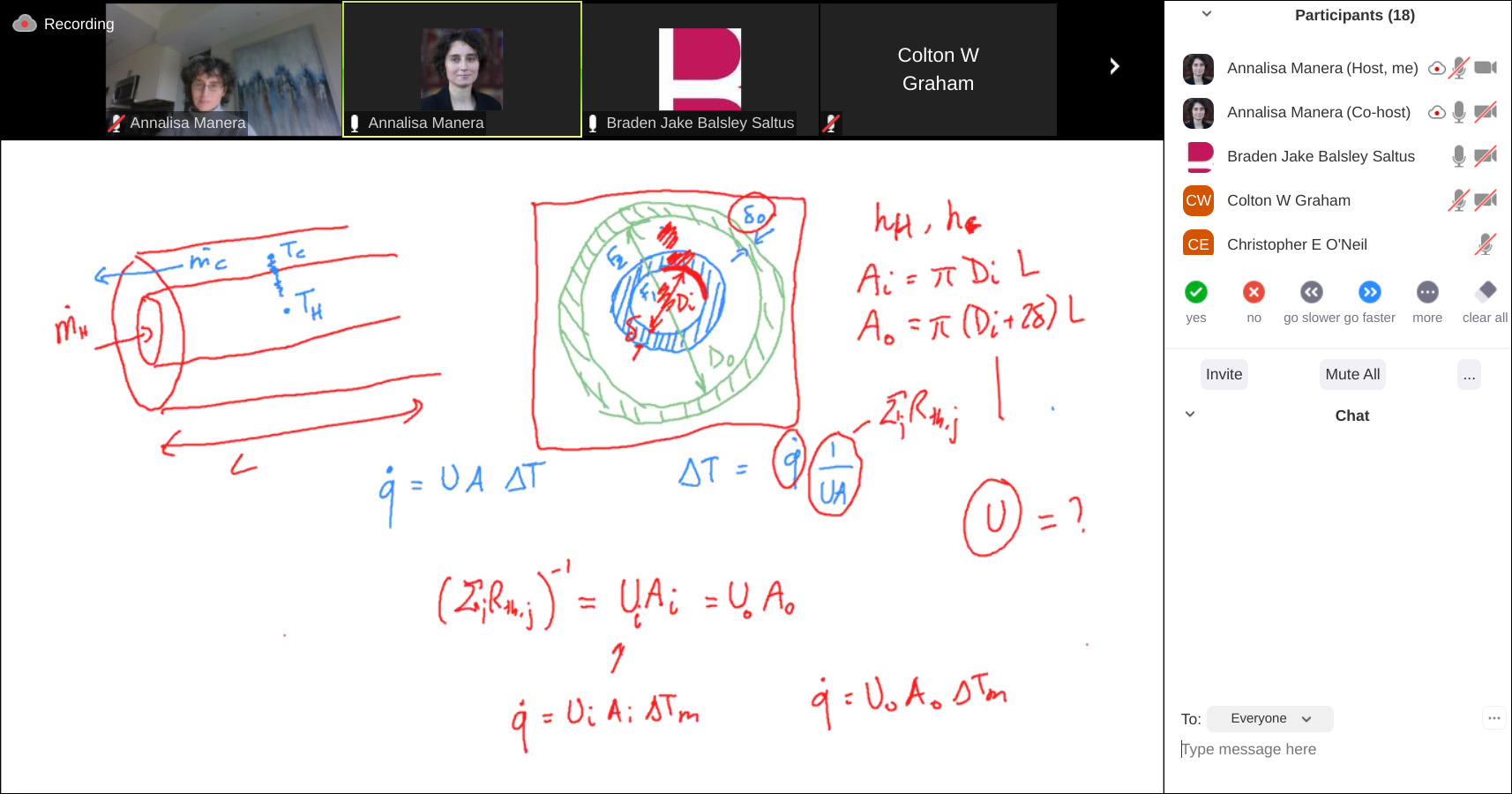 screenshot of a zoom class using the whiteboard feature to solve a complicated math problem