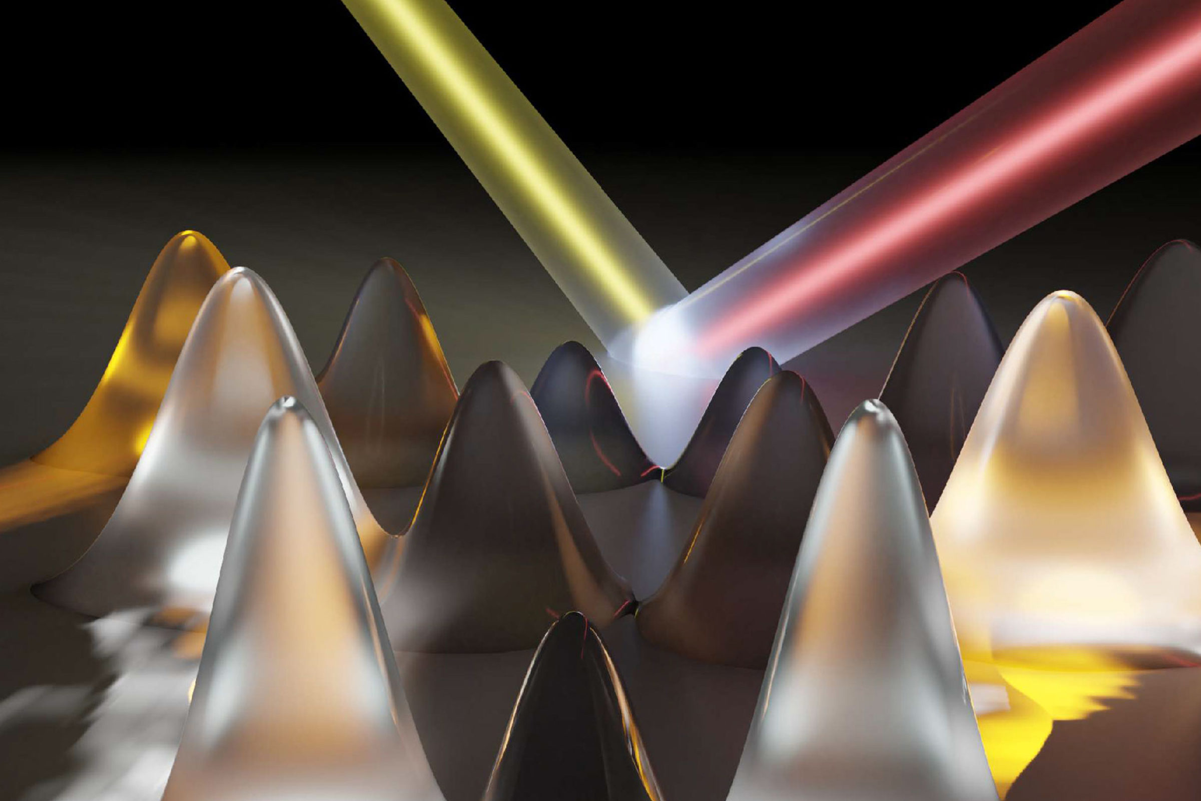 "The electrons absorb laser light and set up ""momentum combs"" (the hills) spanning the energy valleys within the material (the red line). When the electrons have an energy allowed by the quantum mechanical structure of the material—and also touch the edge of the valley—they emit light. This is why some teeth of the combs are bright and some are dark. By measuring the emitted light and precisely locating its source, the research mapped out the energy valleys in a 2D crystal of tungsten diselenide. Credit: Markus Borsch, Quantum Science Theory Lab, University of Michigan."