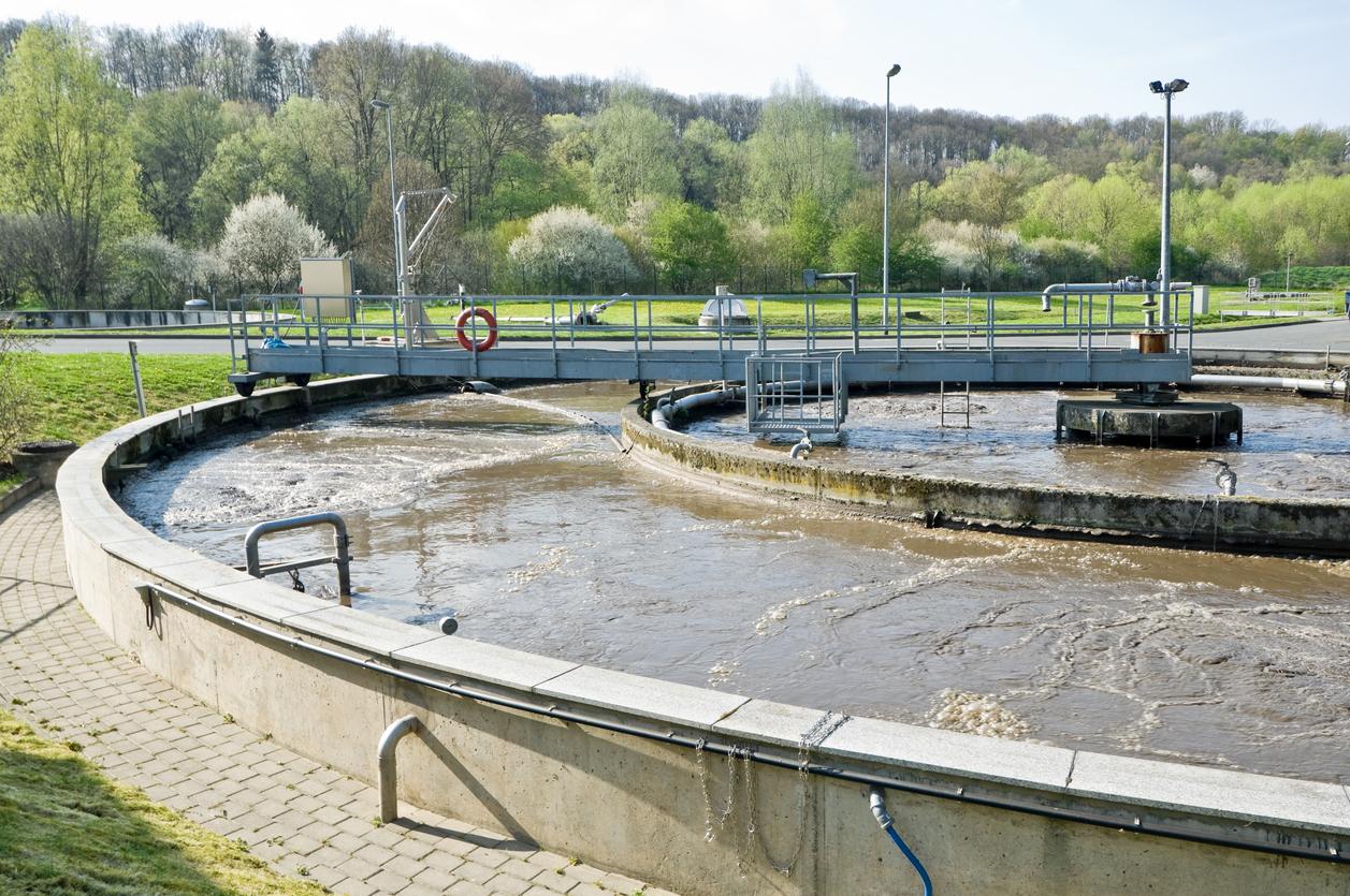 Municipal sewage treatment plant.