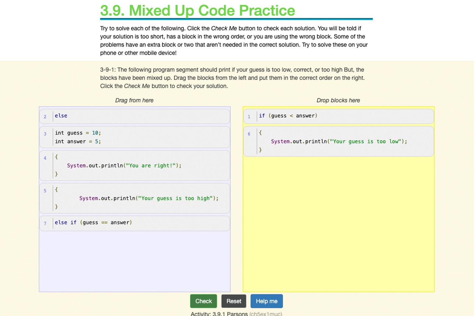 An interactive ebook exercise