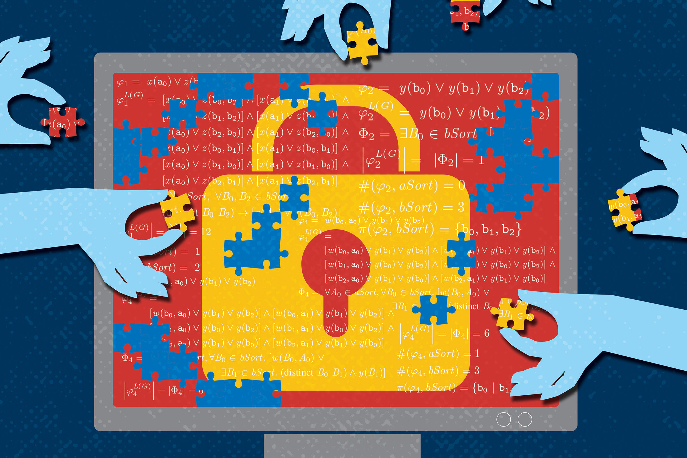 A puzzle of a lock and math equations comes together on-screen