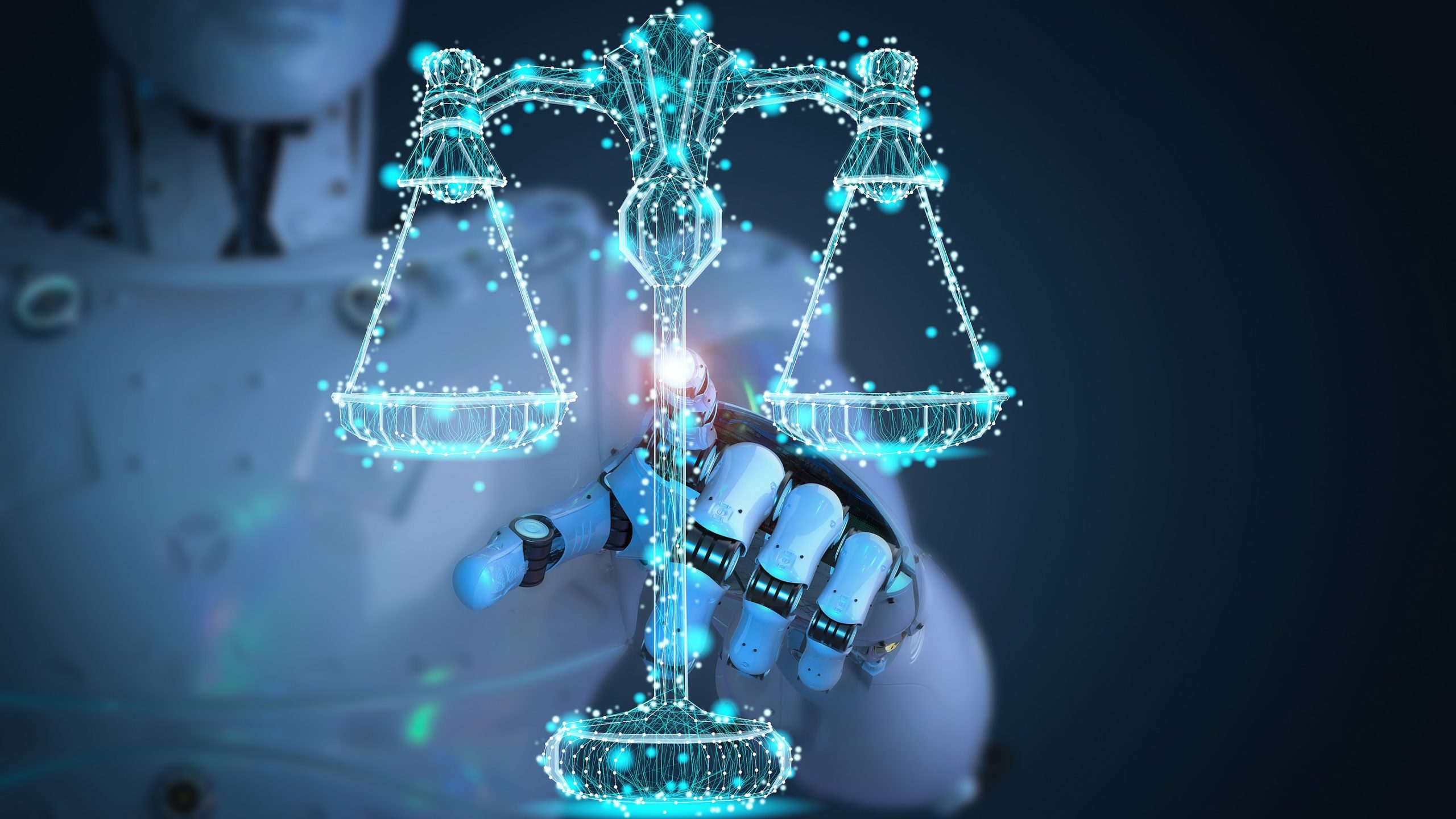 robot pointing to set of scales of justice