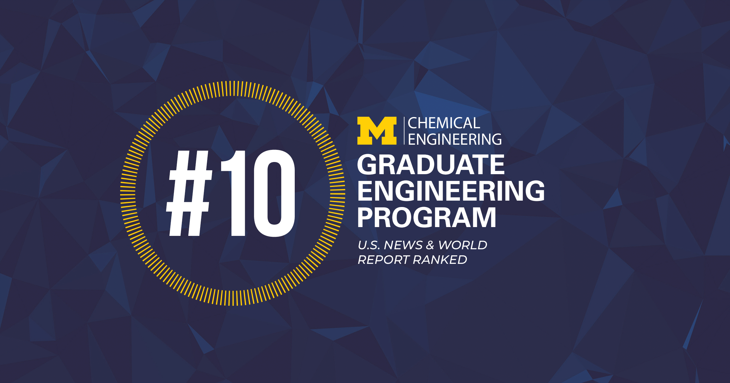 White text on blue background announcing the U-M Chemical Engineering graduate program is ranked 10 by US News & World Report.