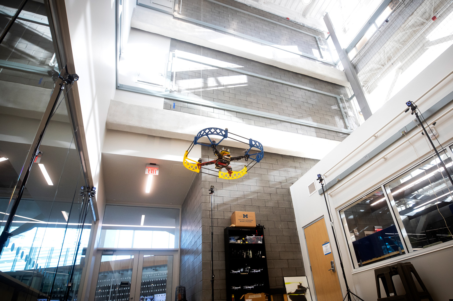 A drone in tested in the Fly Lab in the Ford Robotics Building.