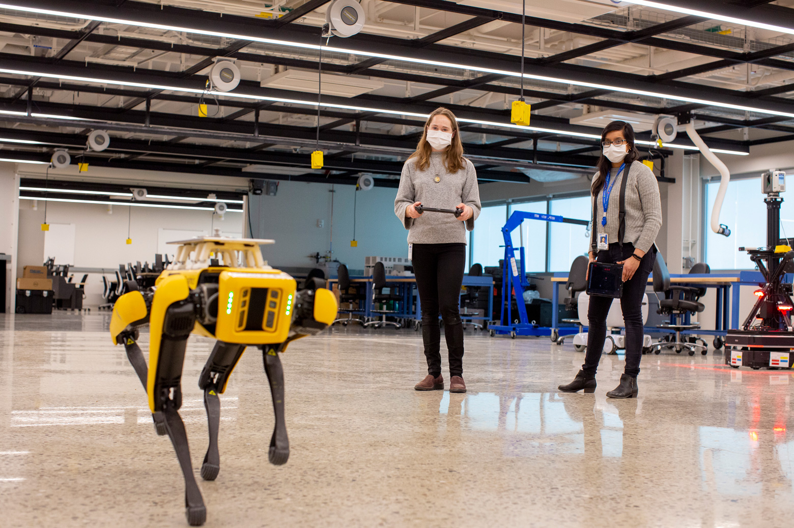 Spot, a four-legged robot moves across Ford's fourth floor lab inside the Ford Robotics Building. Photo: Ford Motor Company