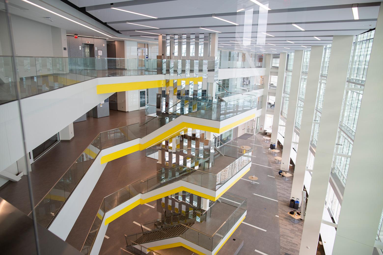 The atrium of the Ford Robotics Building at the University of Michigan.