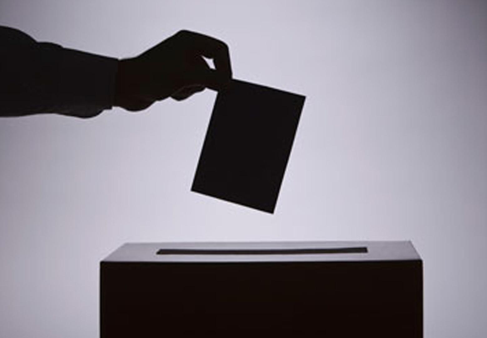 A hand placing a ballot in a ballot box