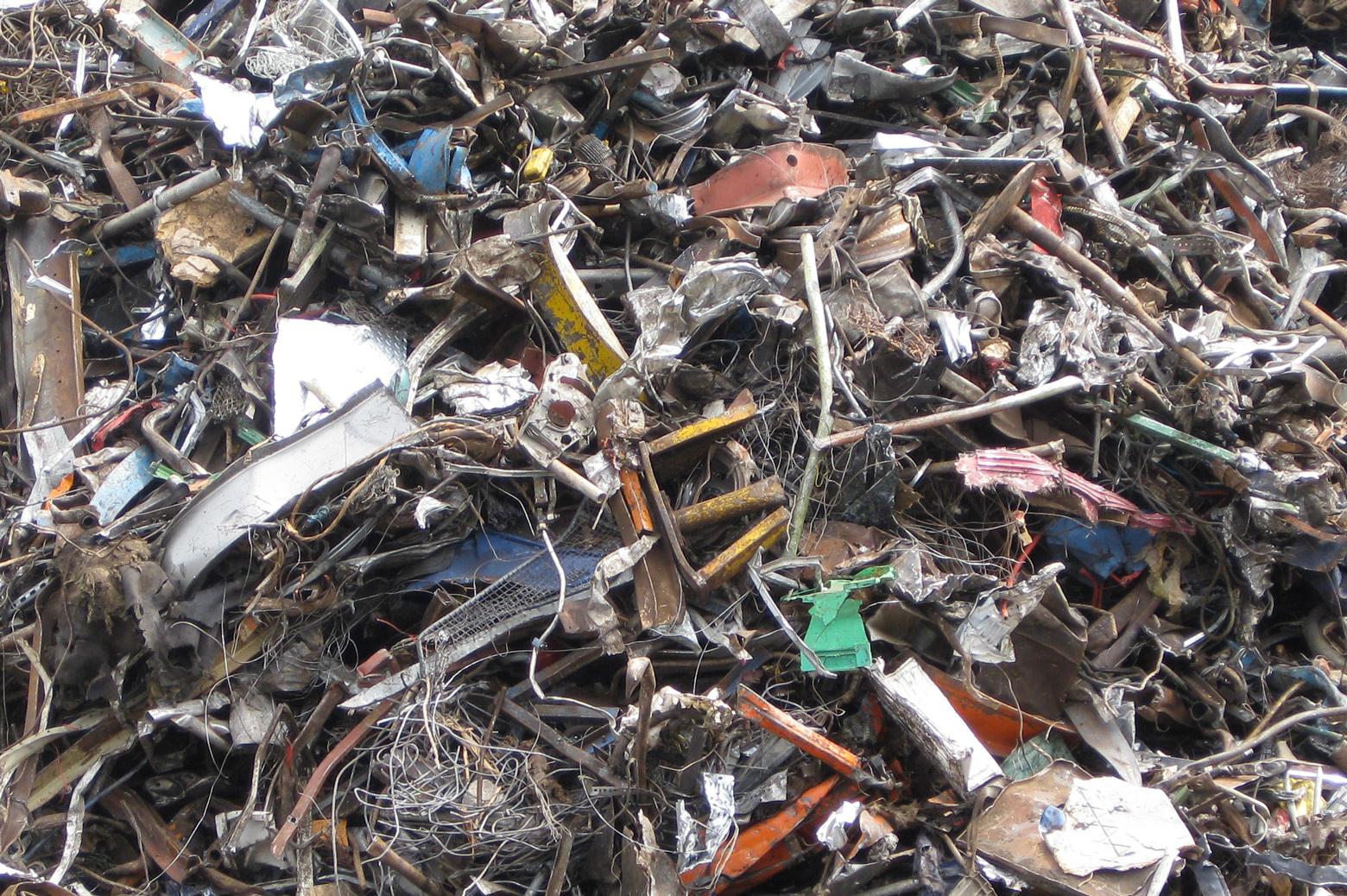 Scrap metal in a pile