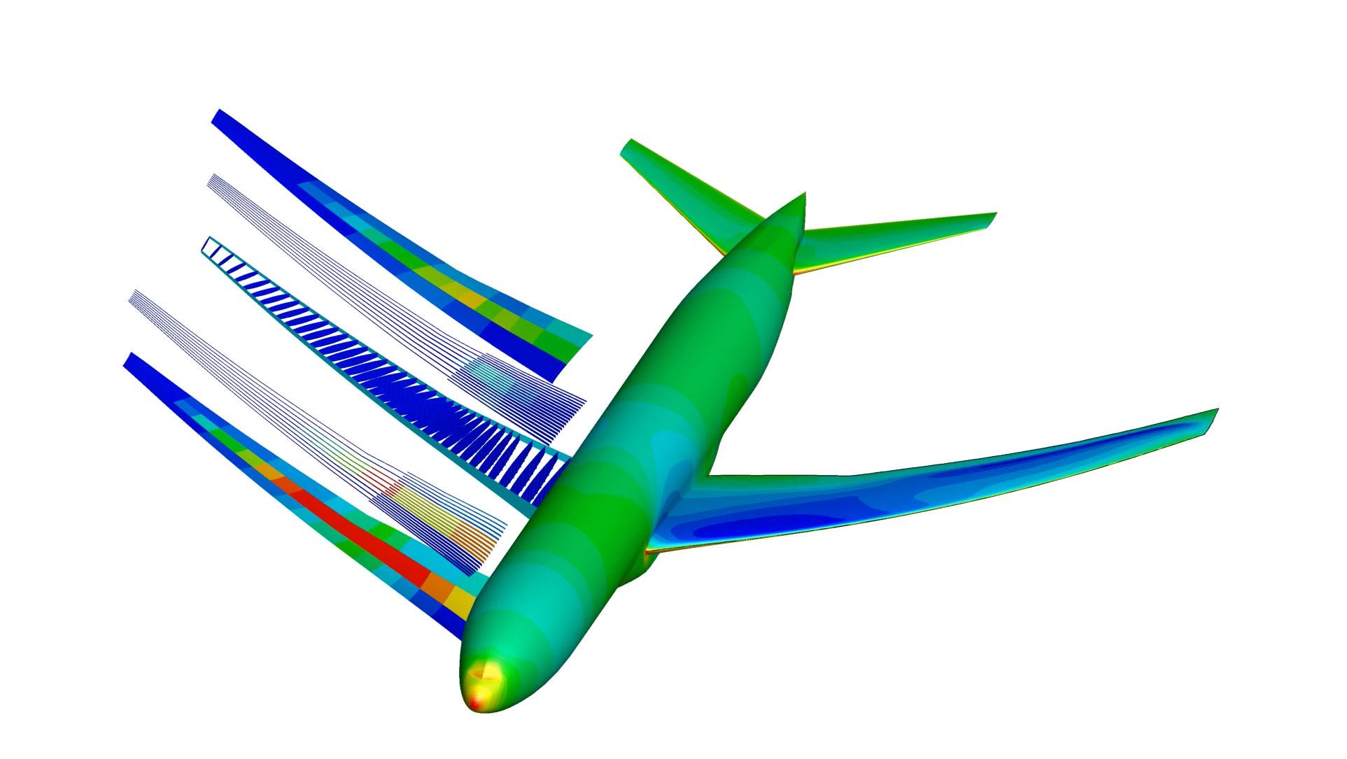 Simulation image of an optimized aircraft.
