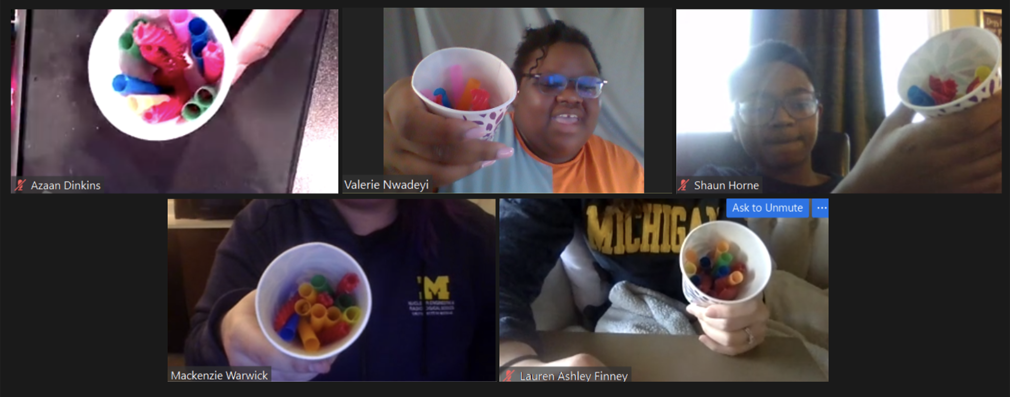 Zoom screenshot of students displaying their candy nuclear reactors