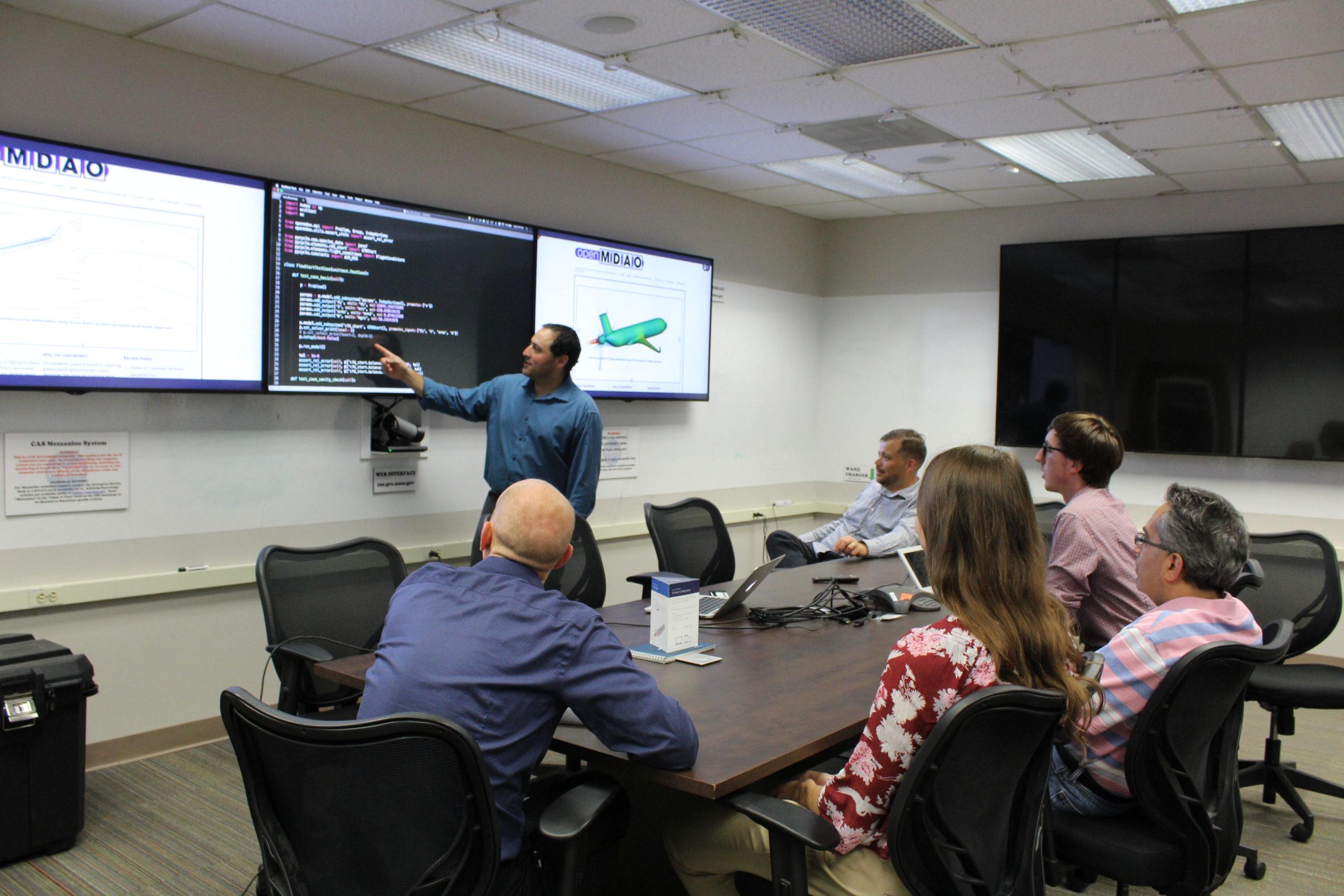 The OpenMDAO team at work at NASA Glenn.